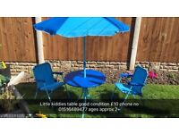 Childrens outdoor table and 2 chair set