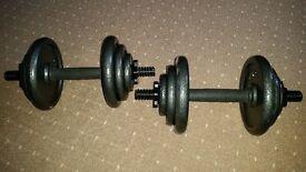 2 x 10kg Cast Iron Dumbbells