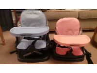 Baby Booster Seats - with tray. Fold away to carry (1 blue , 1 pink)
