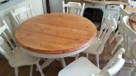 1040mm Round Extendable Shabby Chic Table and 4 Chairs - Farrow and Ball