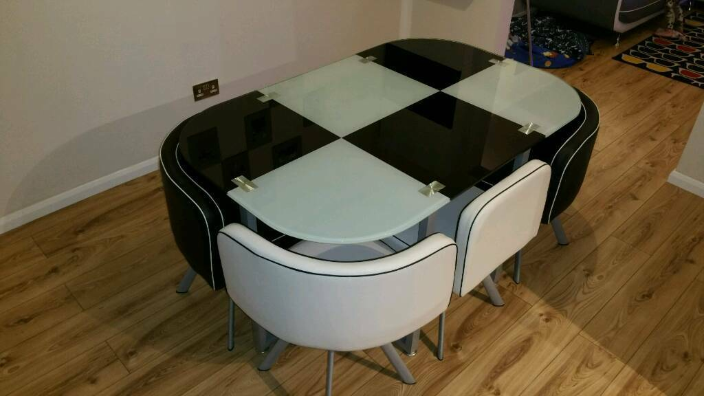 Modern Dining Table With 6 Chairs Set Tempered Gl E Saver