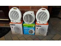 Three 1Kw / 2Kw Thermostat Controlled Fan Heaters
