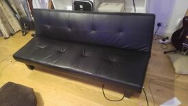 3 seater sofa bed (black synthetic leather)