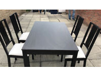 BJURSNAS IKEA DINNING TABLE BLACK AND 4 CHAIRS GOOD CONDITION 90.00 OVNO