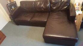 Brown Faux Leather Corner Sofa Bed with Storage