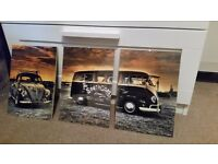 3 oldschool VW pictures in glass frame