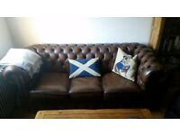 Chesterfield sofa, 3 seater (vintage brown leather)