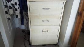 3 drawer pedestal on castors
