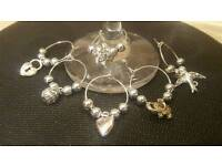 Set of 6 wine glass charms - silver designs