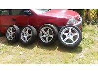 17 inch wolfrace special edition super sports racing Alloys with good tyres. 4 stud 4 × 108