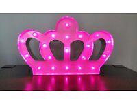Princess Crown White Metal Standing LED light warm pink led 20x33cm Approx