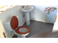 TOILET, CISTERN, SEAT, BASIN, TAPS & PEDESTAL in powder blue (SOLD AS SEEN - USED)