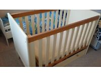 Wood and cream cot