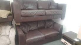 2 x choc brown leather sofas