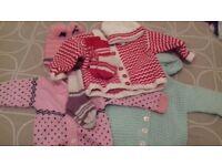 Hand Made Hand-Knit Cardigans Socks Hats Job Lot 9-12 months