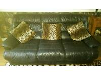 Italian leather 3 seater & 2 armchairs black