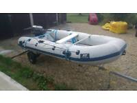 Plastimo Rib boat with suzuki 8hp outboard and metal fuel tank. Ribbed tender