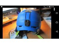 Adult blue ski helmet with LED lights M/L 56-59cm