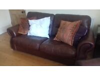Cargo leather couch & arm chair