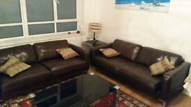 Chocolate brown leather sofas (x2) (John Lewis), £300 for both, cushions included