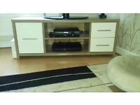 White gloss and oak coloured tv unit