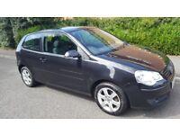 VW Polo 1.2 Match, 74000 miles. Black Metallic. 3 dr hatchback. 2009. new MOT. Full service history