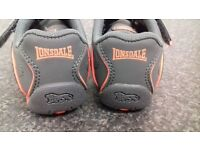 Brand New Lonsdale London Grey charcoal and Orange Uk 6 Boys Trainers