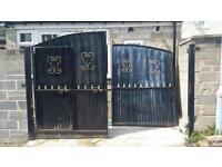 Black metal gate