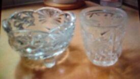 glass sugar bowl and milk / cream jug