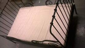Extendable Infant Metal Bed Frame With Slats & Mattress