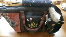 Small Dog Carry Basket length 15in, fur lined used for pomeranian in excellent condition