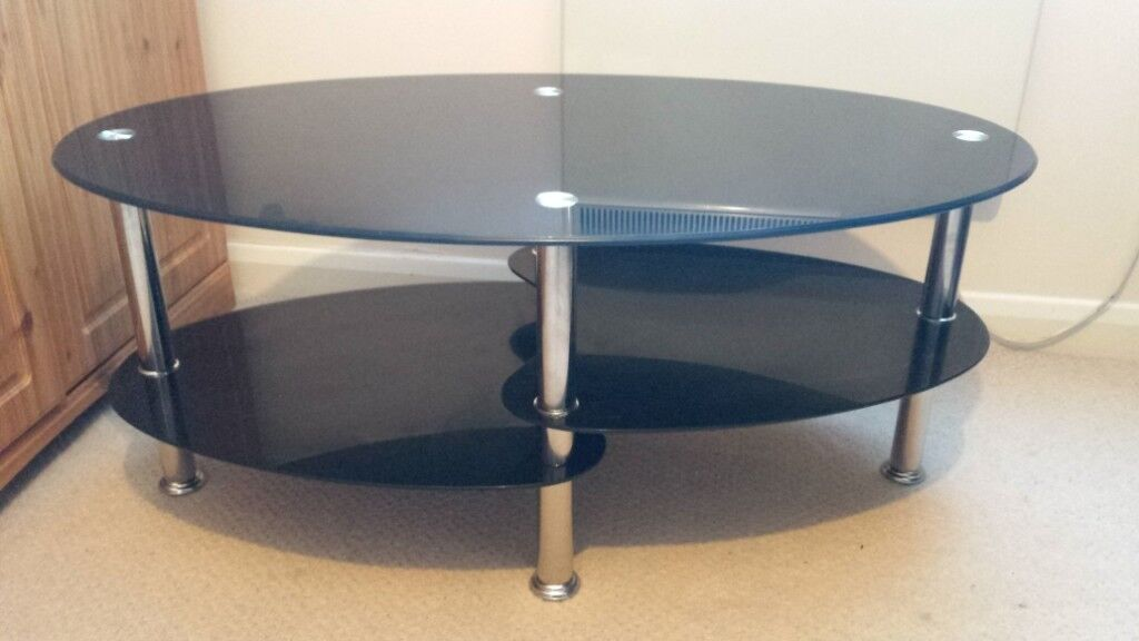 Cara Black Glass Oval Coffee Table With Shelves And Chrome Legs Living Room In Aspley Nottinghamshire Gumtree