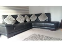 Modern brown leather corner sofa. Great condition