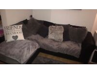 Black/ Grey corner sofa, collection only