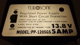 EUROSONIC PP-1205GS 13.8V DC 5A REGULATED POWER SUPPLY *PRICE REDUCED*