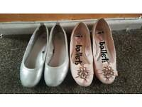 2 pairs of girl's shoes uk size 1.5 and 2 in an excellent condition like