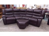 Crescent shaped brown leather recliner corner unit with pouffe