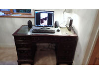 Reproduction vintage pedestal writing desk - green leather top.