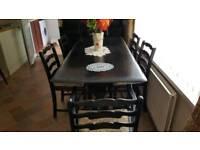 6 seater dark wood table