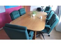 Office meeting table with 6 chairs