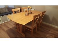 Elegant Extending Dining Table & 4 Cross Back Chairs FREE DELIVERY (03103)