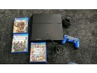 Sony PS4 Console (Jet Black) 500 GB + 4 Games+controller