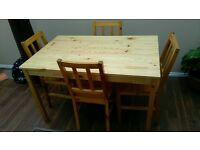 Solid Pine Table with 4 Chairs