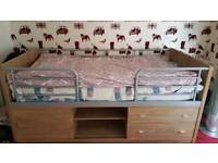 Single bed double drawer sliding shelf and cabinet great condidtion