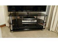 Black Glass & Chrome TV Stand
