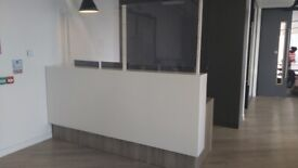 Light walnut-white contrast reception/office table/desk shields available