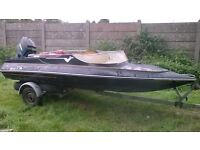 12ft SPEED BOAT WITH MOTOR AND TRAILER