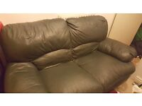 Free sofa, green colour, 2 seater, leather, collection only, good condition