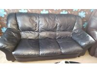 2+3 black leather sofas