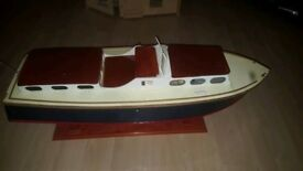 Wooden model boat with petrol motor - quick sale due to bereavement